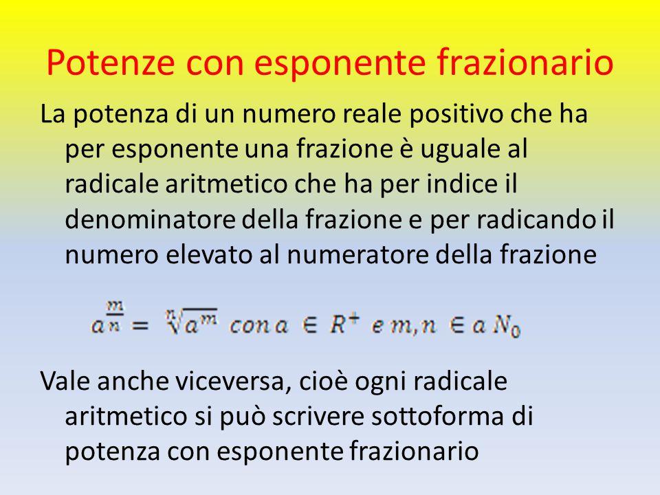 Potenze con esponente frazionario La potenza di un numero reale positivo che ha per esponente una frazione è uguale al radicale aritmetico che ha per
