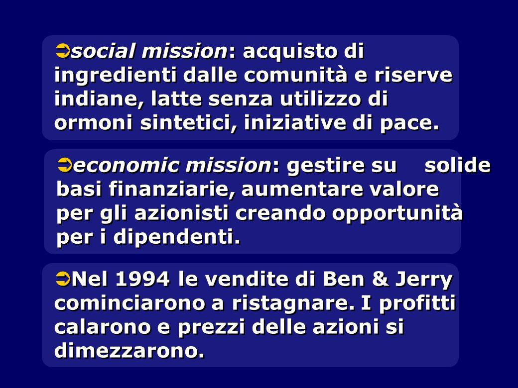   social mission: acquisto di ingredienti dalle comunità e riserve indiane, latte senza utilizzo di ormoni sintetici, iniziative di pace.   econom