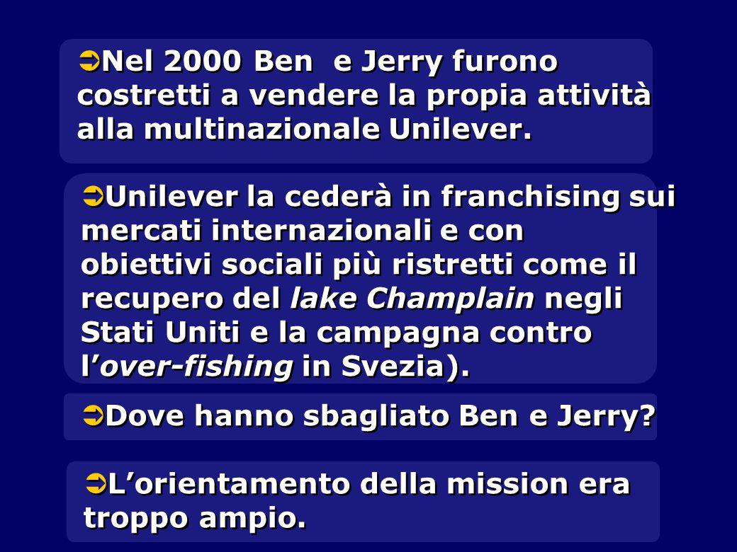   Nel 2000 Ben e Jerry furono costretti a vendere la propia attività alla multinazionale Unilever.   Unilever la cederà in franchising sui mercati