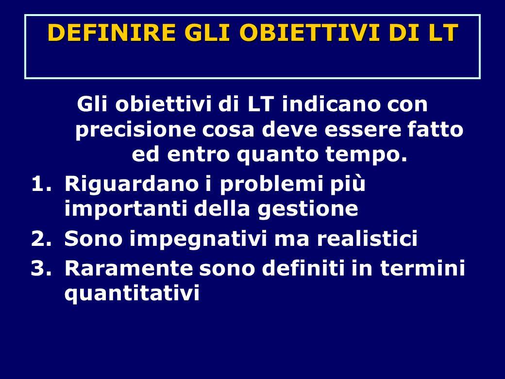 Gli obiettivi di LT indicano con precisione cosa deve essere fatto ed entro quanto tempo. 1.Riguardano i problemi più importanti della gestione 2.Sono
