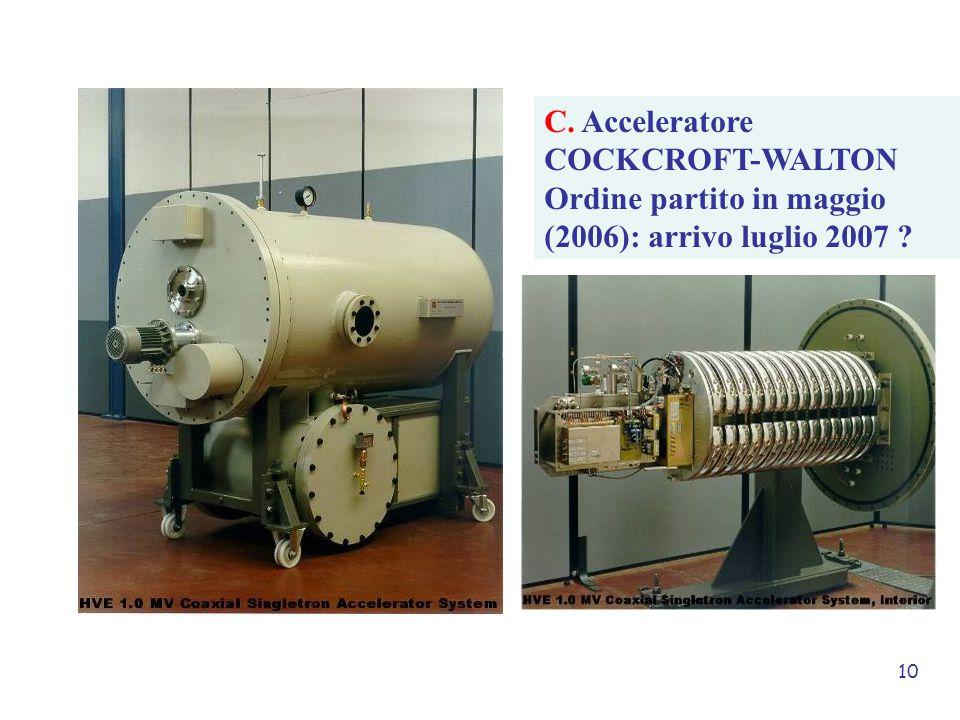 10 C. Acceleratore COCKCROFT-WALTON Ordine partito in maggio (2006): arrivo luglio 2007 ?
