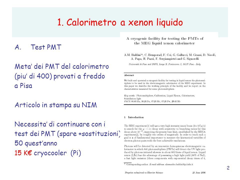2 1. Calorimetro a xenon liquido A.Test PMT Meta' dei PMT del calorimetro (piu' di 400) provati a freddo a Pisa Articolo in stampa su NIM Necessita' d