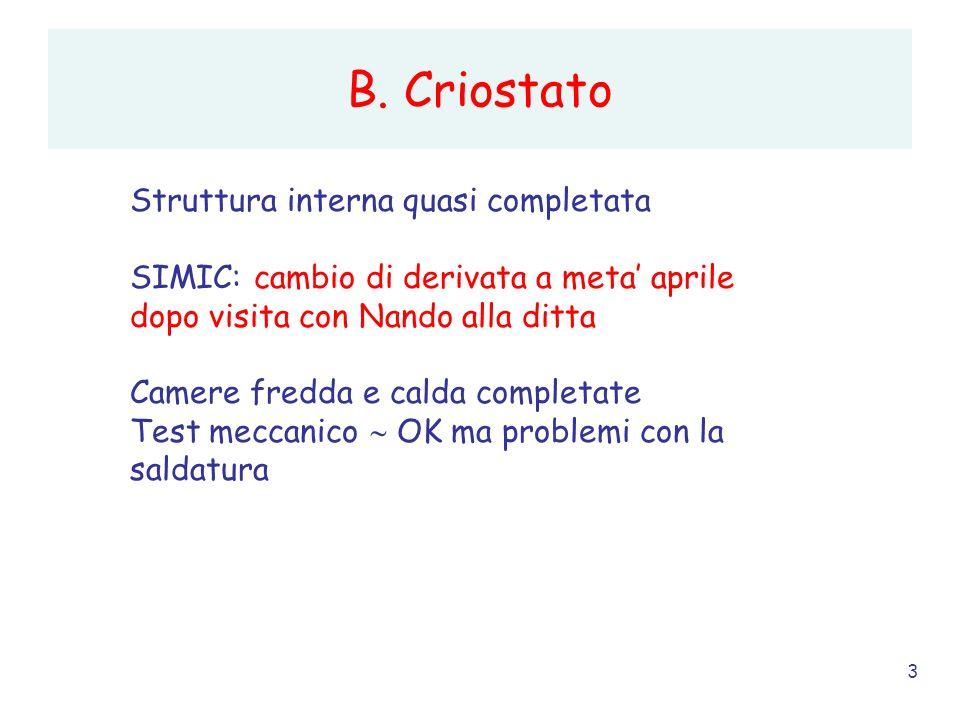 3 B. Criostato Struttura interna quasi completata SIMIC: cambio di derivata a meta' aprile dopo visita con Nando alla ditta Camere fredda e calda comp