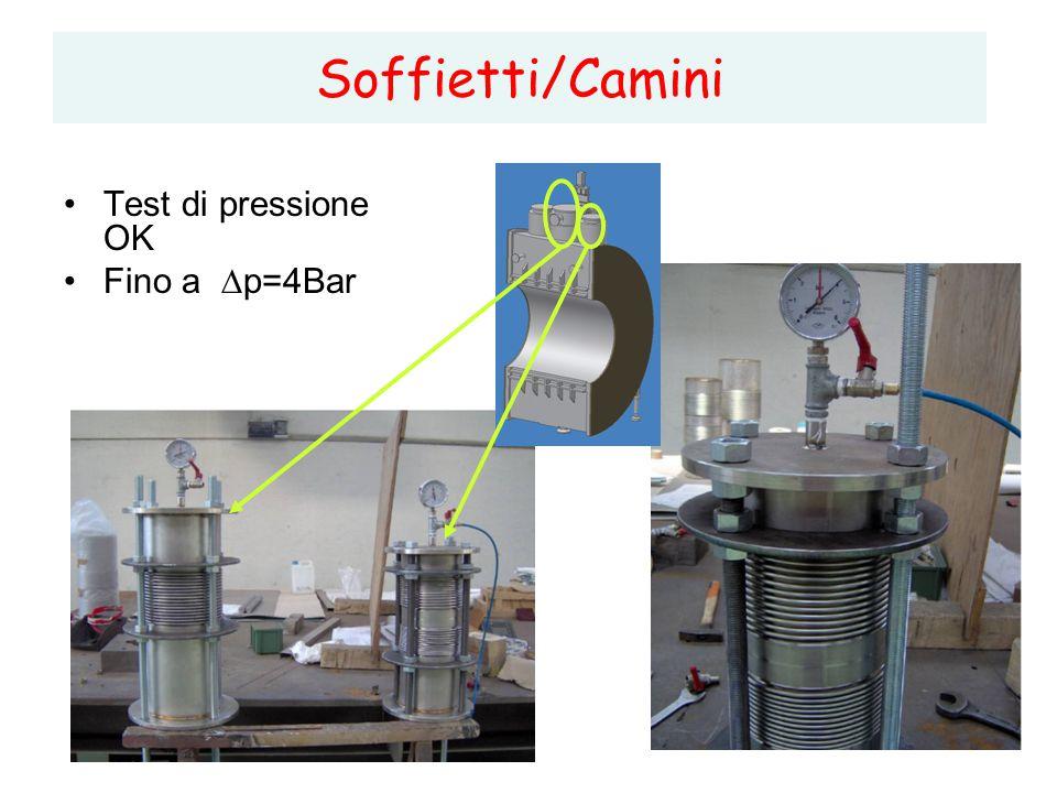 5 Soffietti/Camini Test di pressione OK Fino a  p=4Bar