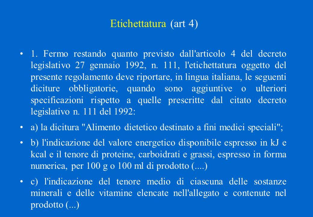Etichettatura (art 4) 1. Fermo restando quanto previsto dall'articolo 4 del decreto legislativo 27 gennaio 1992, n. 111, l'etichettatura oggetto del p