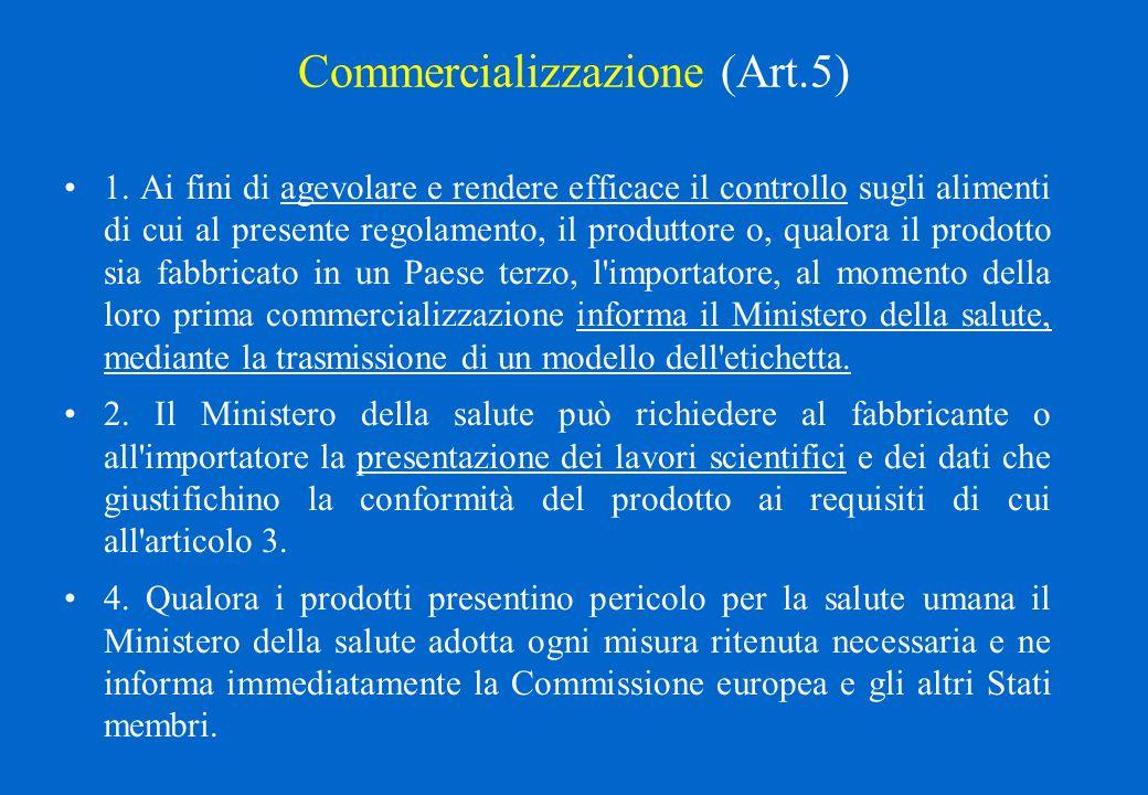 Commercializzazione (Art.5) 1. Ai fini di agevolare e rendere efficace il controllo sugli alimenti di cui al presente regolamento, il produttore o, qu