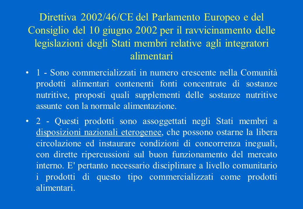 Direttiva 2002/46/CE del Parlamento Europeo e del Consiglio del 10 giugno 2002 per il ravvicinamento delle legislazioni degli Stati membri relative ag