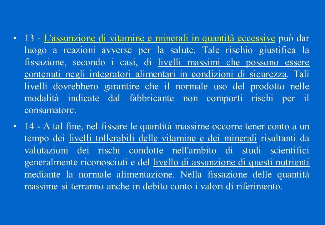 13 - L'assunzione di vitamine e minerali in quantità eccessive può dar luogo a reazioni avverse per la salute. Tale rischio giustifica la fissazione,