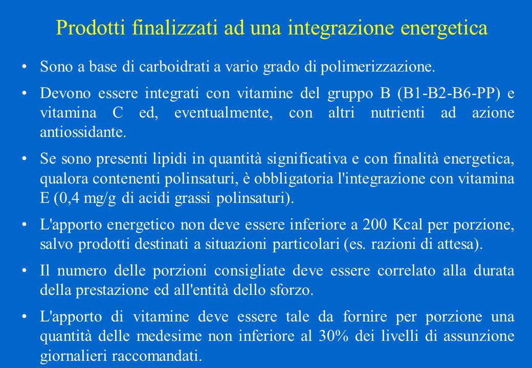 Prodotti finalizzati ad una integrazione energetica Sono a base di carboidrati a vario grado di polimerizzazione. Devono essere integrati con vitamine