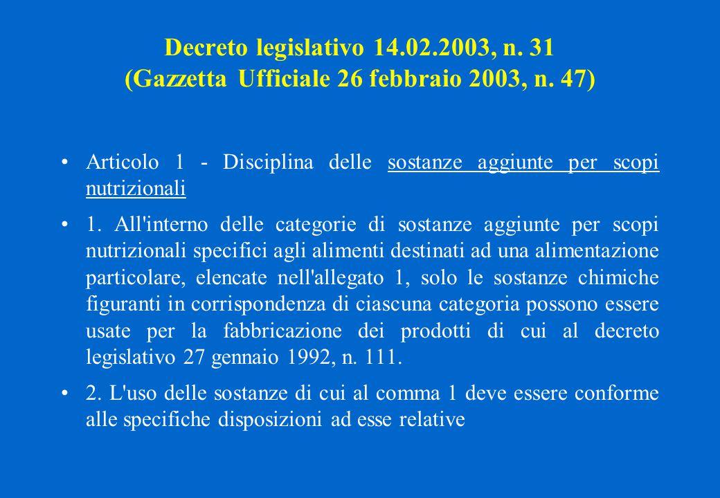 Decreto legislativo 14.02.2003, n. 31 (Gazzetta Ufficiale 26 febbraio 2003, n. 47) Articolo 1 - Disciplina delle sostanze aggiunte per scopi nutrizion