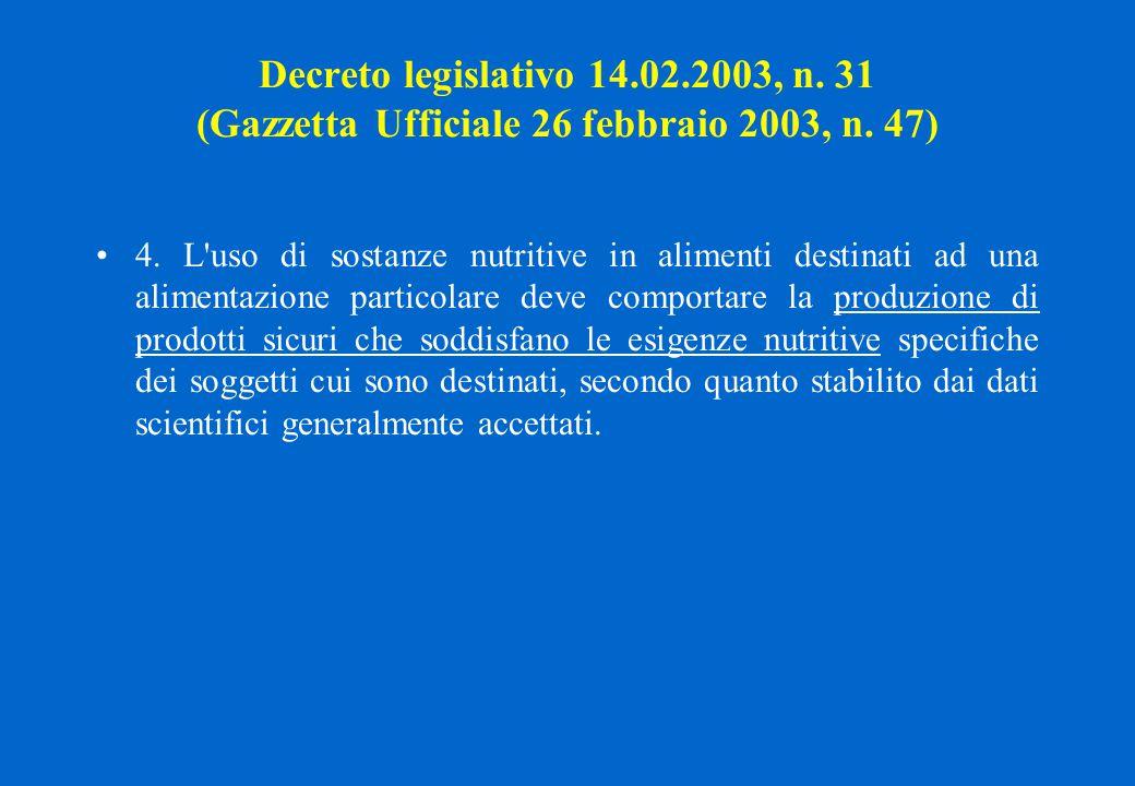 Decreto legislativo 14.02.2003, n. 31 (Gazzetta Ufficiale 26 febbraio 2003, n. 47) 4. L'uso di sostanze nutritive in alimenti destinati ad una aliment