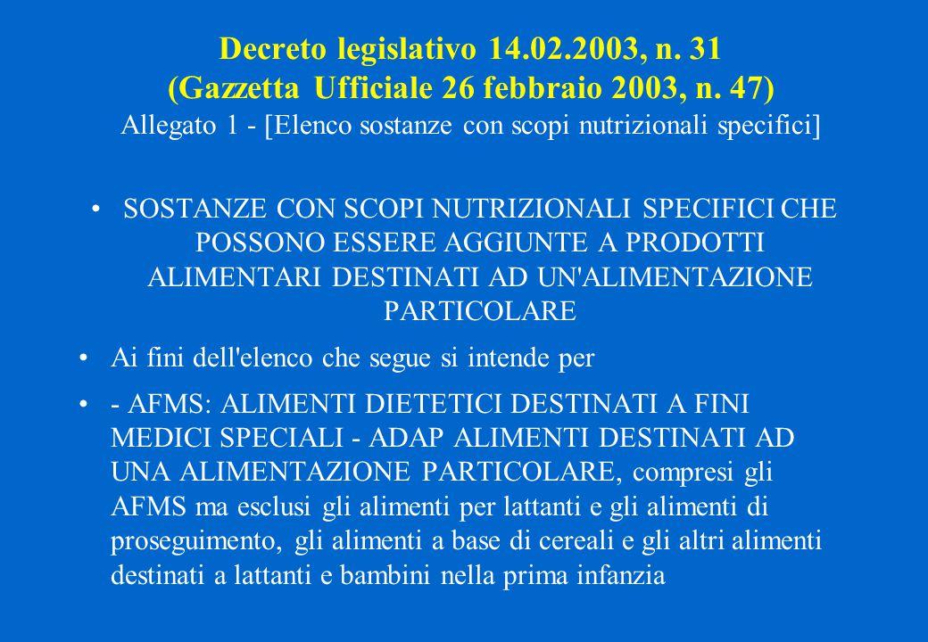 Decreto legislativo 14.02.2003, n. 31 (Gazzetta Ufficiale 26 febbraio 2003, n. 47) Allegato 1 - [Elenco sostanze con scopi nutrizionali specifici] SOS