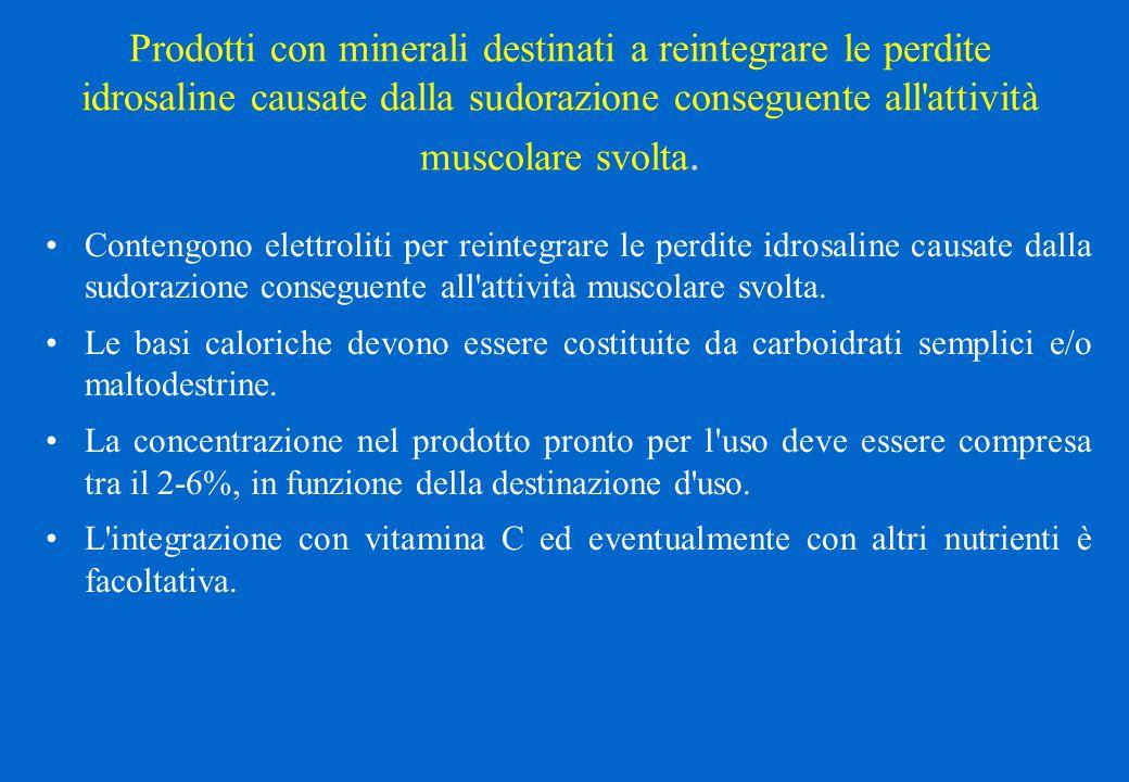 Prodotti con minerali destinati a reintegrare le perdite idrosaline causate dalla sudorazione conseguente all'attività muscolare svolta. Contengono el
