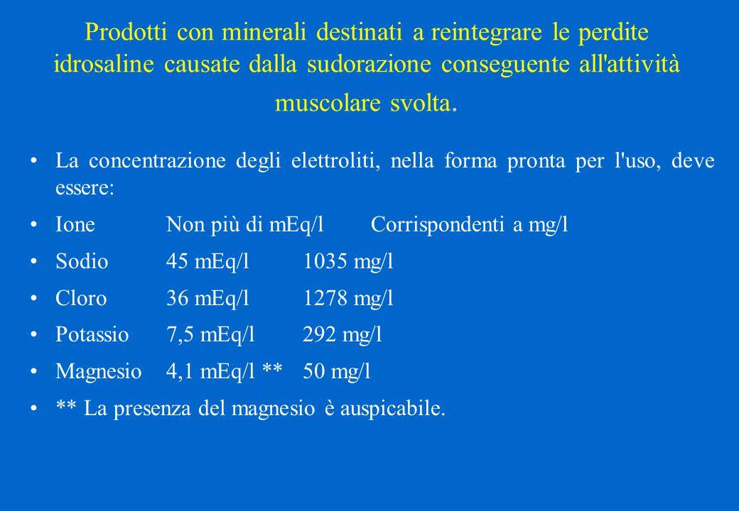 Prodotti con minerali destinati a reintegrare le perdite idrosaline causate dalla sudorazione conseguente all'attività muscolare svolta. La concentraz