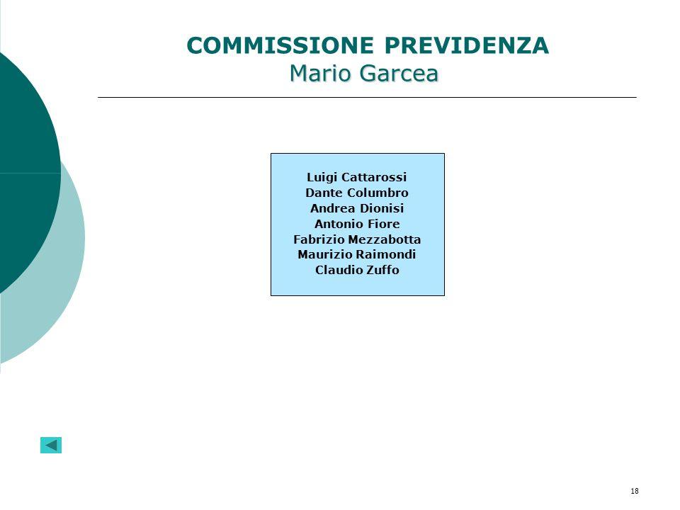 18 Mario Garcea COMMISSIONE PREVIDENZA Mario Garcea Luigi Cattarossi Dante Columbro Andrea Dionisi Antonio Fiore Fabrizio Mezzabotta Maurizio Raimondi