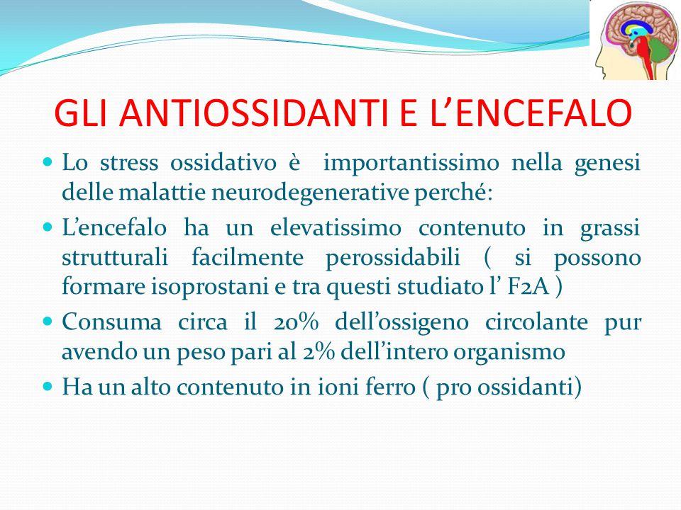 GLI ANTIOSSIDANTI E L'ENCEFALO Lo stress ossidativo è importantissimo nella genesi delle malattie neurodegenerative perché: L'encefalo ha un elevatiss