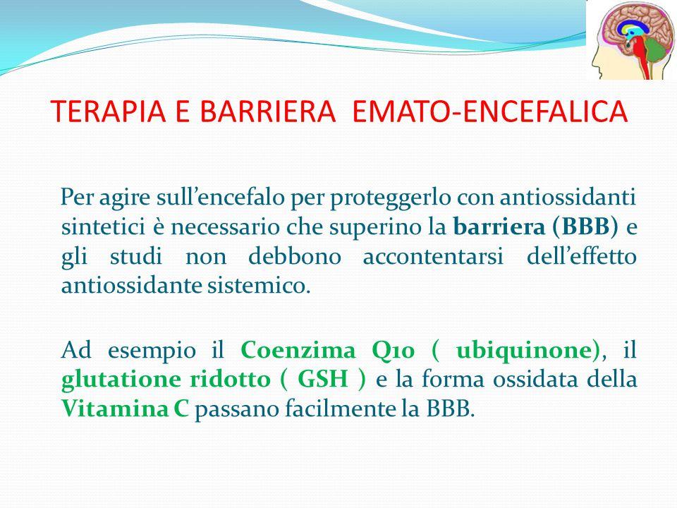 TERAPIA E BARRIERA EMATO-ENCEFALICA Per agire sull'encefalo per proteggerlo con antiossidanti sintetici è necessario che superino la barriera (BBB) e