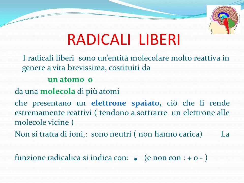 RADICALI LIBERI I radicali liberi sono un'entità molecolare molto reattiva in genere a vita brevissima, costituiti da un atomo o da una molecola di pi