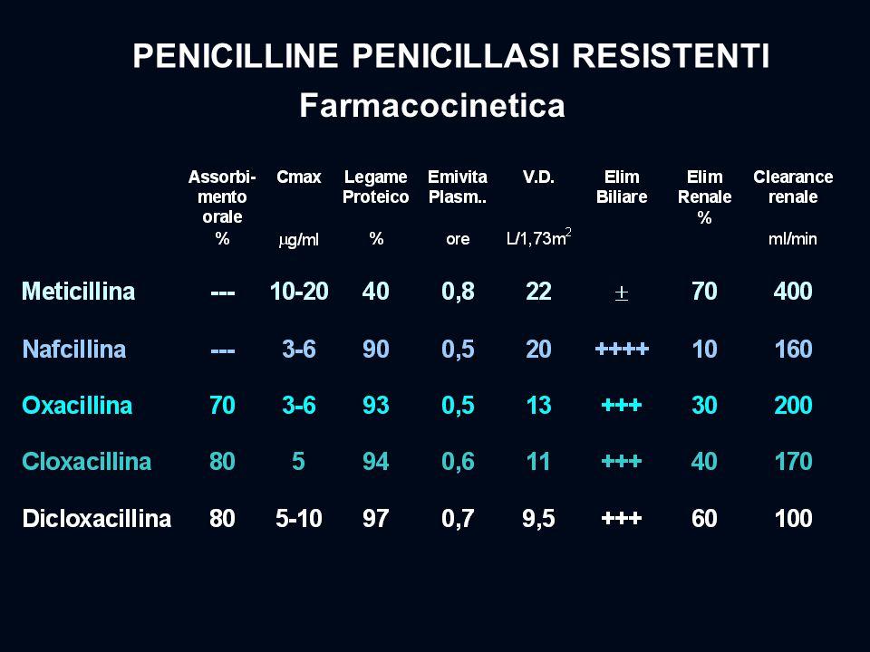PENICILLINE PENICILLASI RESISTENTI Farmacocinetica