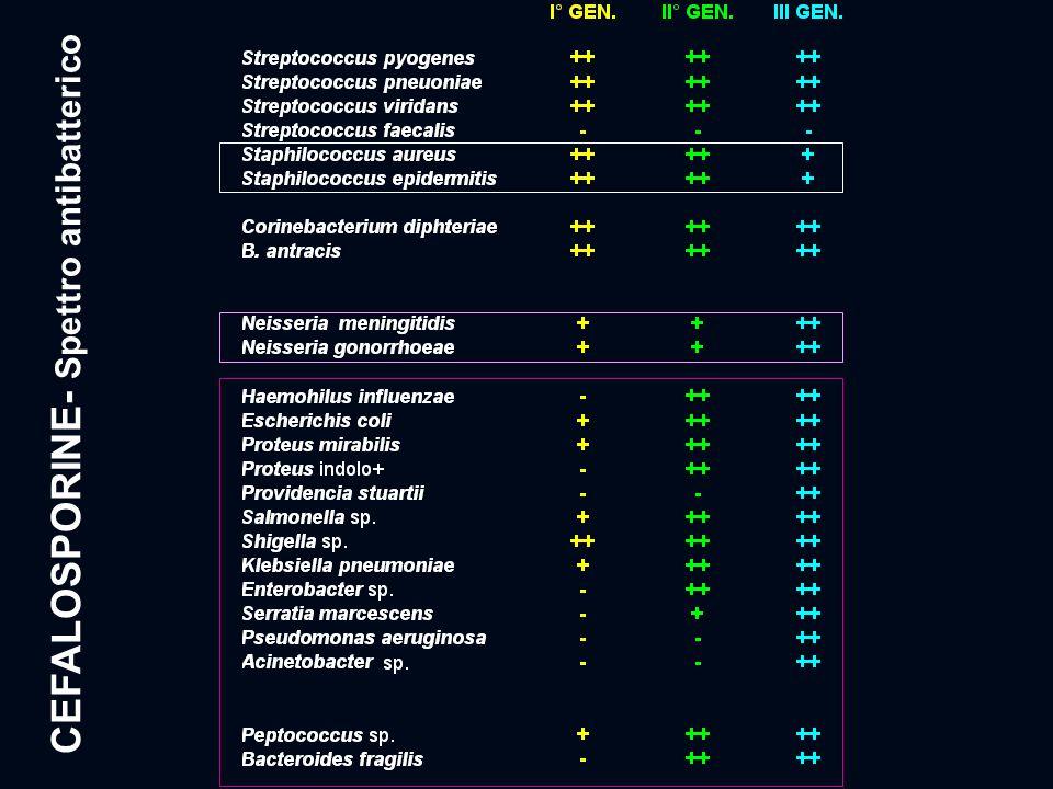 CEFALOSPORINE- Spettro antibatterico