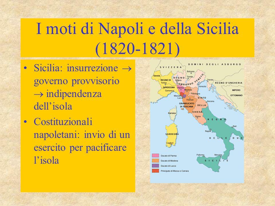 I moti di Napoli e della Sicilia (1820-1821) Sicilia: insurrezione  governo provvisorio  indipendenza dell'isola Costituzionali napoletani: invio di