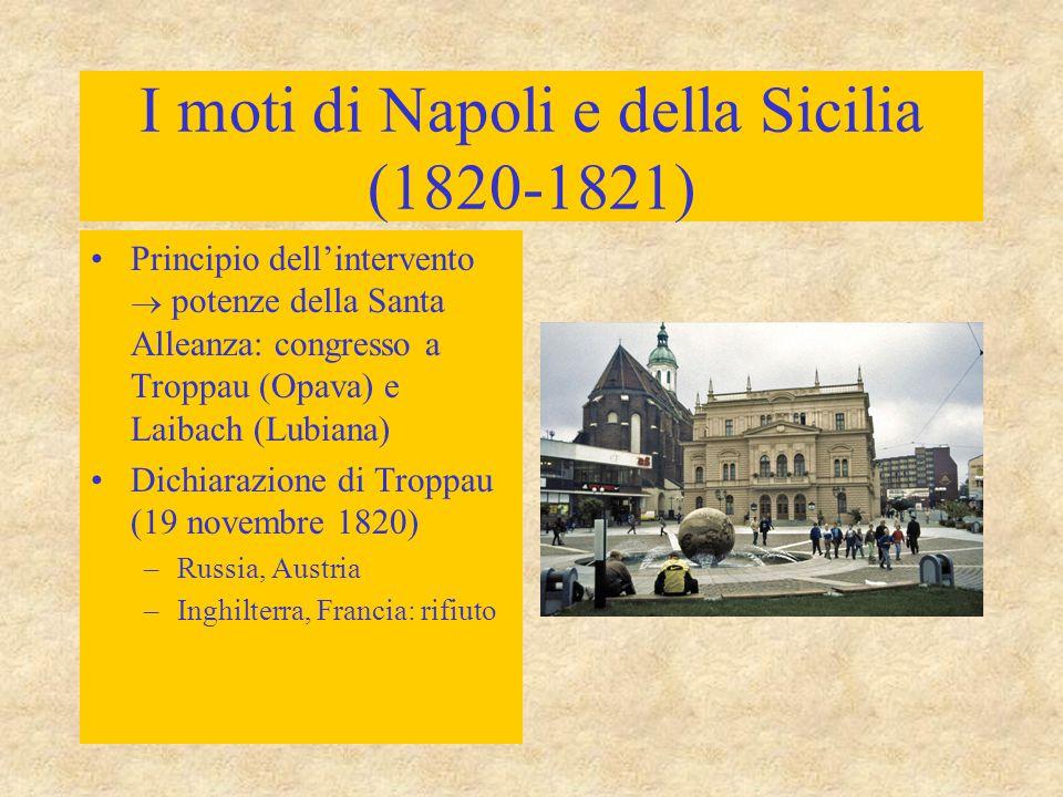 I moti di Napoli e della Sicilia (1820-1821) Principio dell'intervento  potenze della Santa Alleanza: congresso a Troppau (Opava) e Laibach (Lubiana)