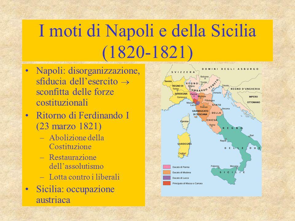 I moti di Napoli e della Sicilia (1820-1821) Napoli: disorganizzazione, sfiducia dell'esercito  sconfitta delle forze costituzionali Ritorno di Ferdi