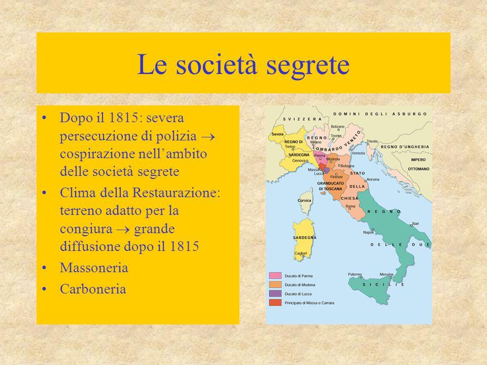 Le società segrete Dopo il 1815: severa persecuzione di polizia  cospirazione nell'ambito delle società segrete Clima della Restaurazione: terreno ad