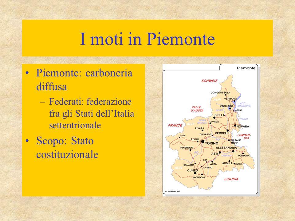 I moti in Piemonte Piemonte: carboneria diffusa –Federati: federazione fra gli Stati dell'Italia settentrionale Scopo: Stato costituzionale