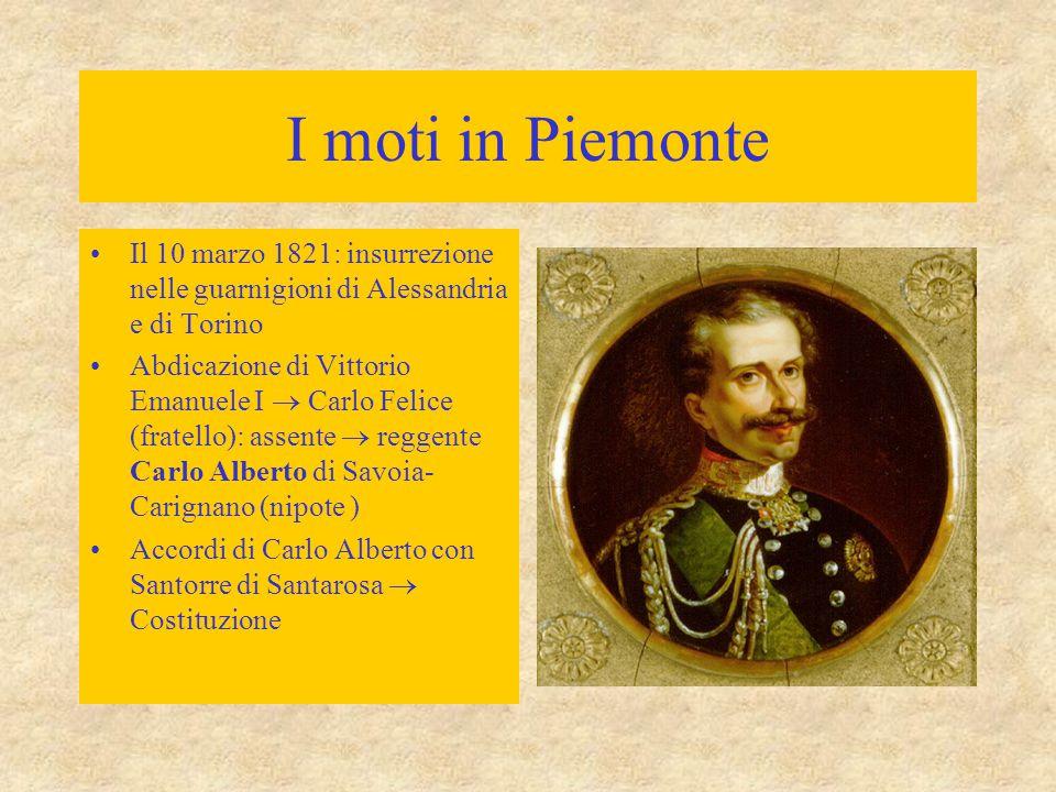 I moti in Piemonte Il 10 marzo 1821: insurrezione nelle guarnigioni di Alessandria e di Torino Abdicazione di Vittorio Emanuele I  Carlo Felice (frat