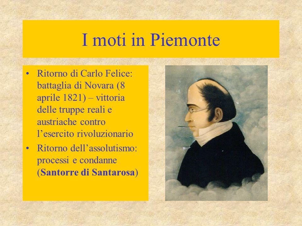 I moti in Piemonte Ritorno di Carlo Felice: battaglia di Novara (8 aprile 1821) – vittoria delle truppe reali e austriache contro l'esercito rivoluzio