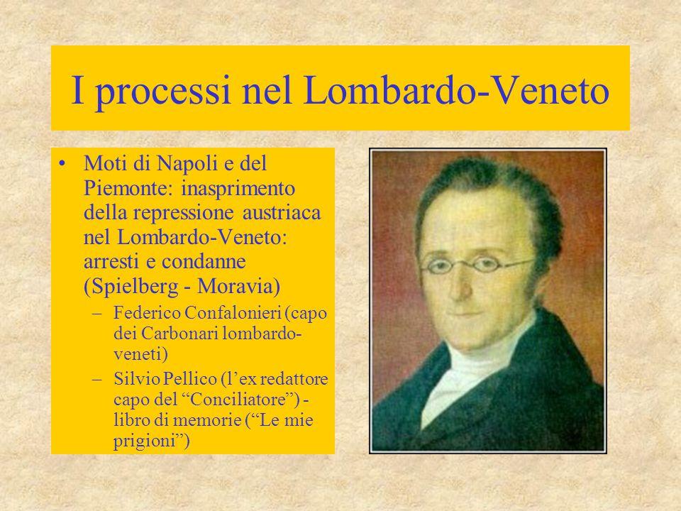I processi nel Lombardo-Veneto Moti di Napoli e del Piemonte: inasprimento della repressione austriaca nel Lombardo-Veneto: arresti e condanne (Spielb