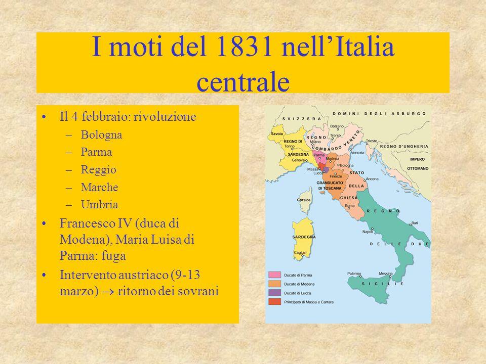 I moti del 1831 nell'Italia centrale Il 4 febbraio: rivoluzione –Bologna –Parma –Reggio –Marche –Umbria Francesco IV (duca di Modena), Maria Luisa di