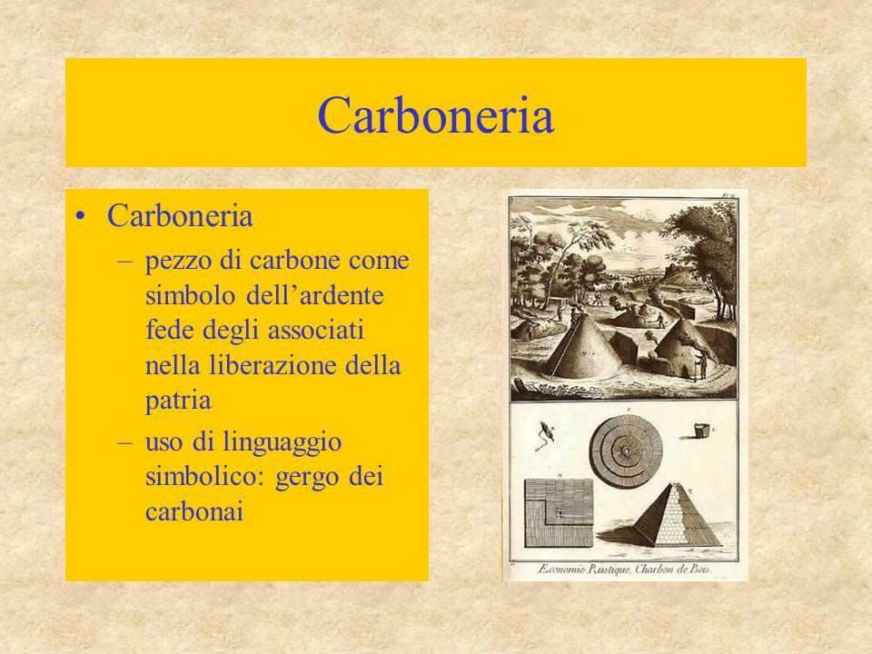 Carboneria –pezzo di carbone come simbolo dell'ardente fede degli associati nella liberazione della patria –uso di linguaggio simbolico: gergo dei car
