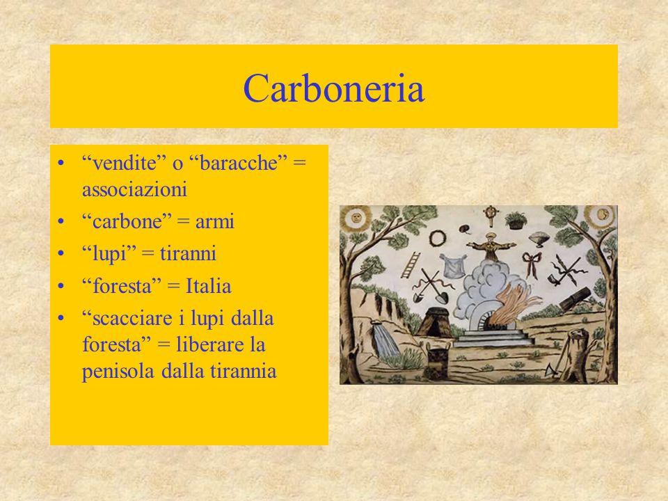 """Carboneria """"vendite"""" o """"baracche"""" = associazioni """"carbone"""" = armi """"lupi"""" = tiranni """"foresta"""" = Italia """"scacciare i lupi dalla foresta"""" = liberare la p"""