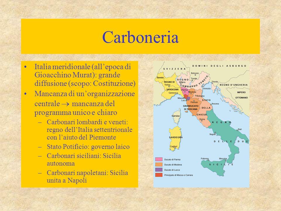 Carboneria Italia meridionale (all'epoca di Gioacchino Murat): grande diffusione (scopo: Costituzione) Mancanza di un'organizzazione centrale  mancan