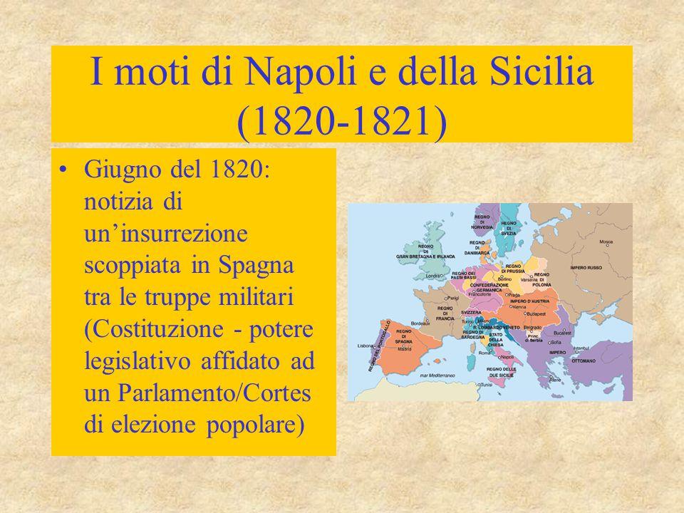 I moti di Napoli e della Sicilia (1820-1821) Giugno del 1820: notizia di un'insurrezione scoppiata in Spagna tra le truppe militari (Costituzione - po