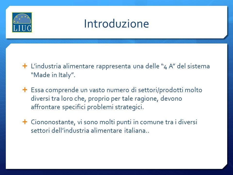 Industria Alimentare: fattori-chiave  L'industria alimentare italiana è famosa a livello mondiale per il suo legame con l'immagine esclusiva dei prodotti, l'alta qualità e lo stile di vita italiano ;  I principali prodotti/marchi dell'industria alimentare italiana sono radicati in specifici territori.