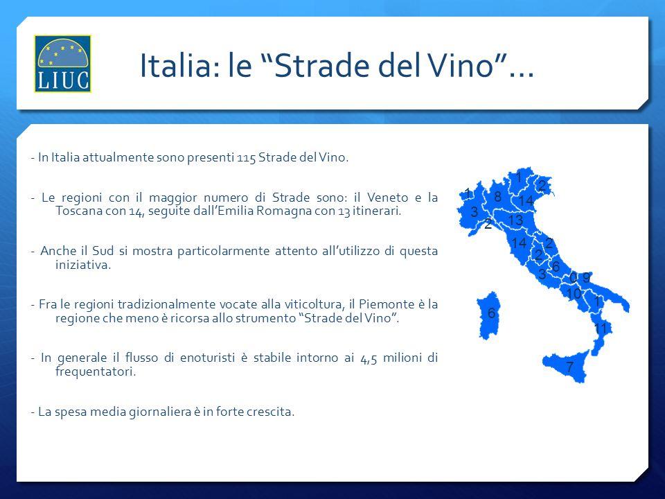 """Italia: le """"Strade del Vino""""… - In Italia attualmente sono presenti 115 Strade del Vino. - Le regioni con il maggior numero di Strade sono: il Veneto"""