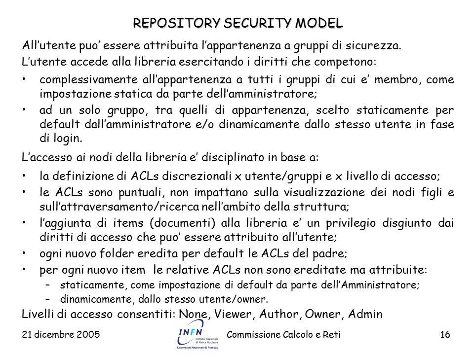 21 dicembre 2005Commissione Calcolo e Reti16 REPOSITORY SECURITY MODEL All'utente puo' essere attribuita l'appartenenza a gruppi di sicurezza. L'utent