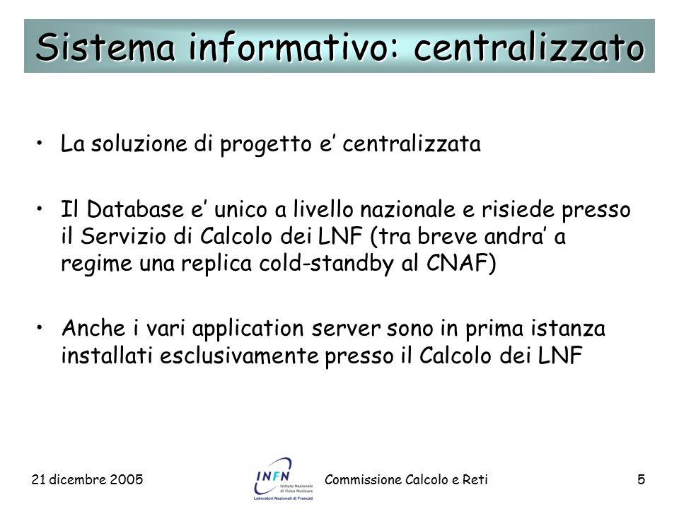 21 dicembre 2005Commissione Calcolo e Reti5 La soluzione di progetto e' centralizzata Il Database e' unico a livello nazionale e risiede presso il Ser