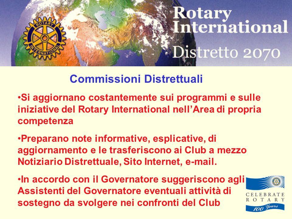 Commissioni Distrettuali Si aggiornano costantemente sui programmi e sulle iniziative del Rotary International nell'Area di propria competenza Preparano note informative, esplicative, di aggiornamento e le trasferiscono ai Club a mezzo Notiziario Distrettuale, Sito Internet, e-mail.
