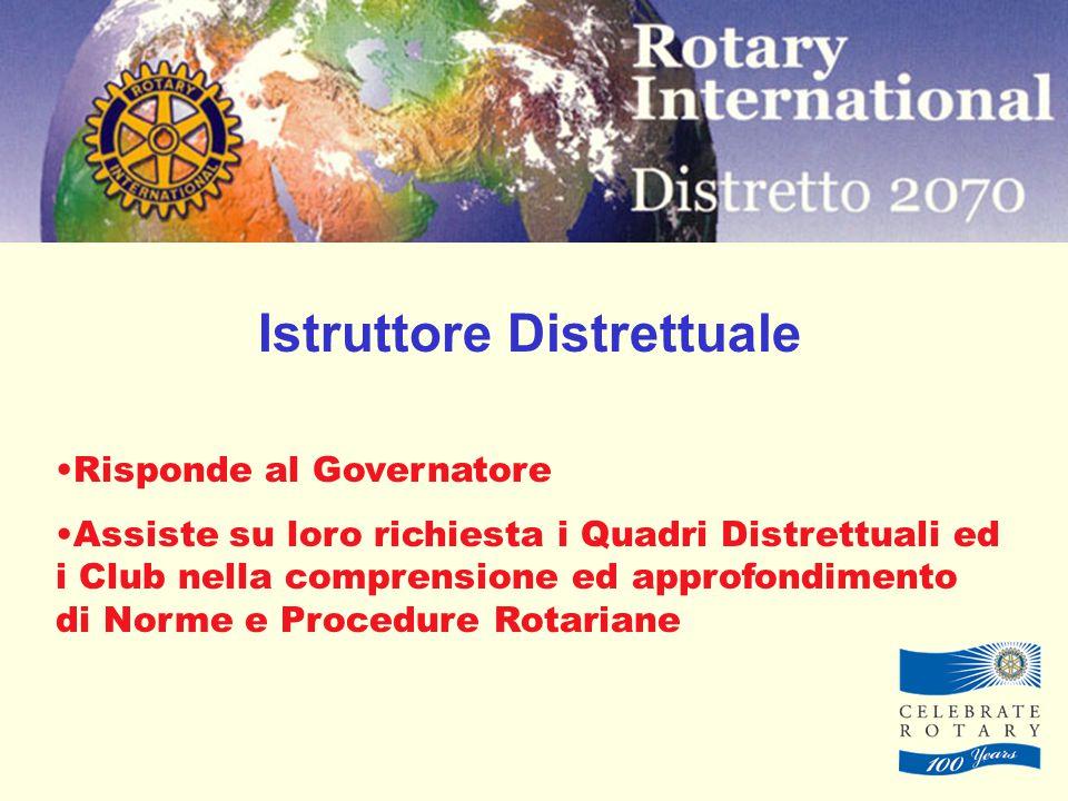 Istruttore Distrettuale Risponde al Governatore Assiste su loro richiesta i Quadri Distrettuali ed i Club nella comprensione ed approfondimento di Norme e Procedure Rotariane