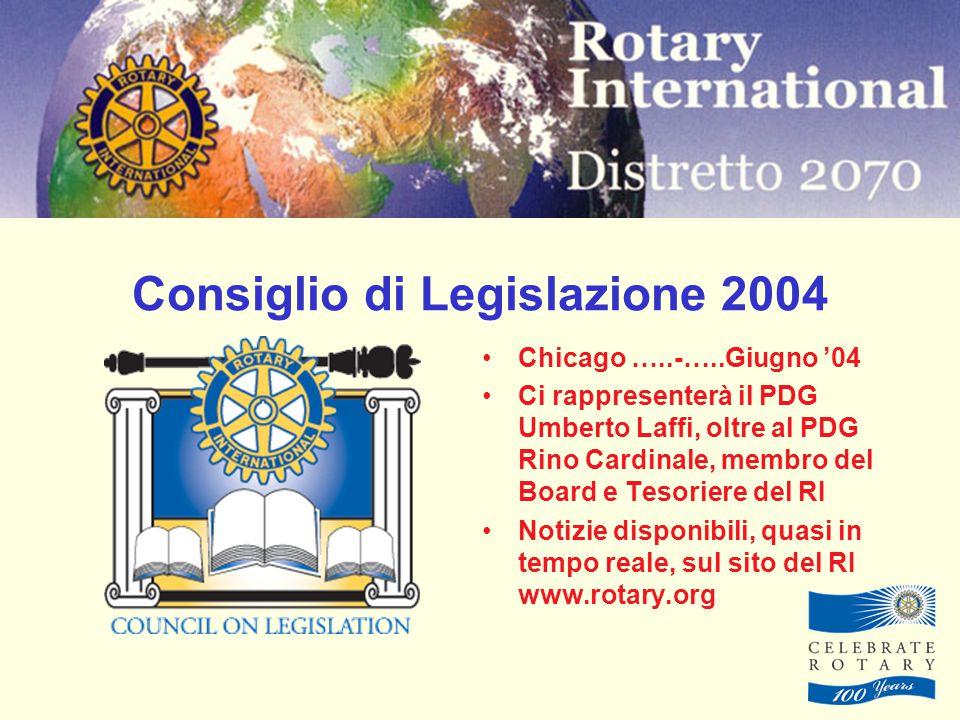 Consiglio di Legislazione 2004 Chicago …..-…..Giugno '04 Ci rappresenterà il PDG Umberto Laffi, oltre al PDG Rino Cardinale, membro del Board e Tesoriere del RI Notizie disponibili, quasi in tempo reale, sul sito del RI www.rotary.org