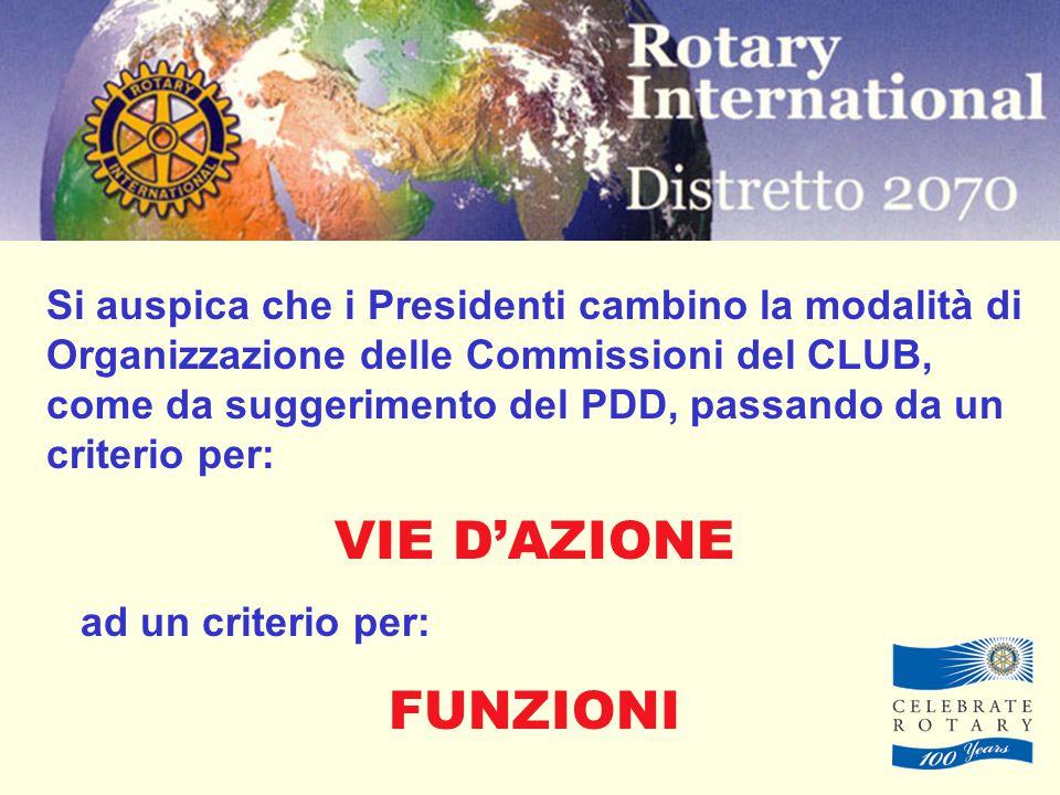 Si auspica che i Presidenti cambino la modalità di Organizzazione delle Commissioni del CLUB, come da suggerimento del PDD, passando da un criterio per: VIE D'AZIONE ad un criterio per: FUNZIONI