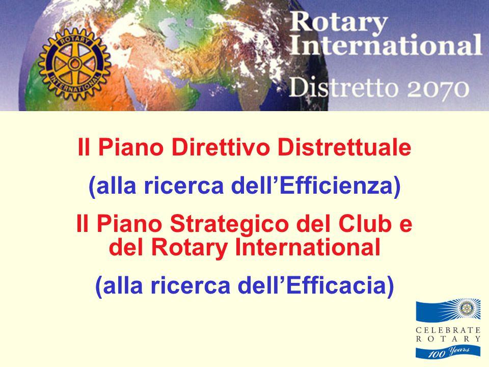 Il Piano Direttivo Distrettuale (alla ricerca dell'Efficienza) Il Piano Strategico del Club e del Rotary International (alla ricerca dell'Efficacia)
