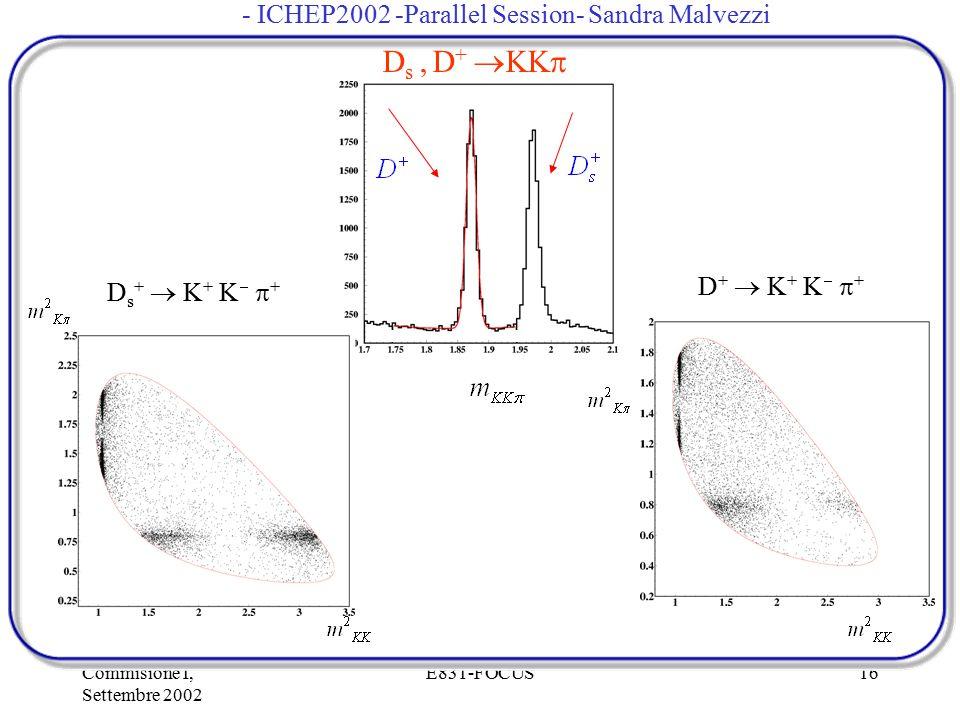 Commisione I, Settembre 2002 E831-FOCUS16 D s, D +  KK  D s +  K + K   + D +  K + K   + - ICHEP2002 -Parallel Session- Sandra Malvezzi