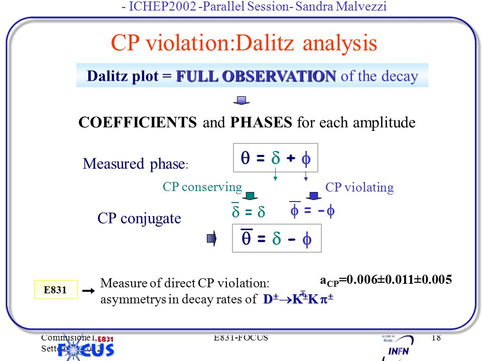 Commisione I, Settembre 2002 E831-FOCUS18 FULL OBSERVATION Dalitz plot = FULL OBSERVATION of the decay COEFFICIENTS and PHASES for each amplitude Meas