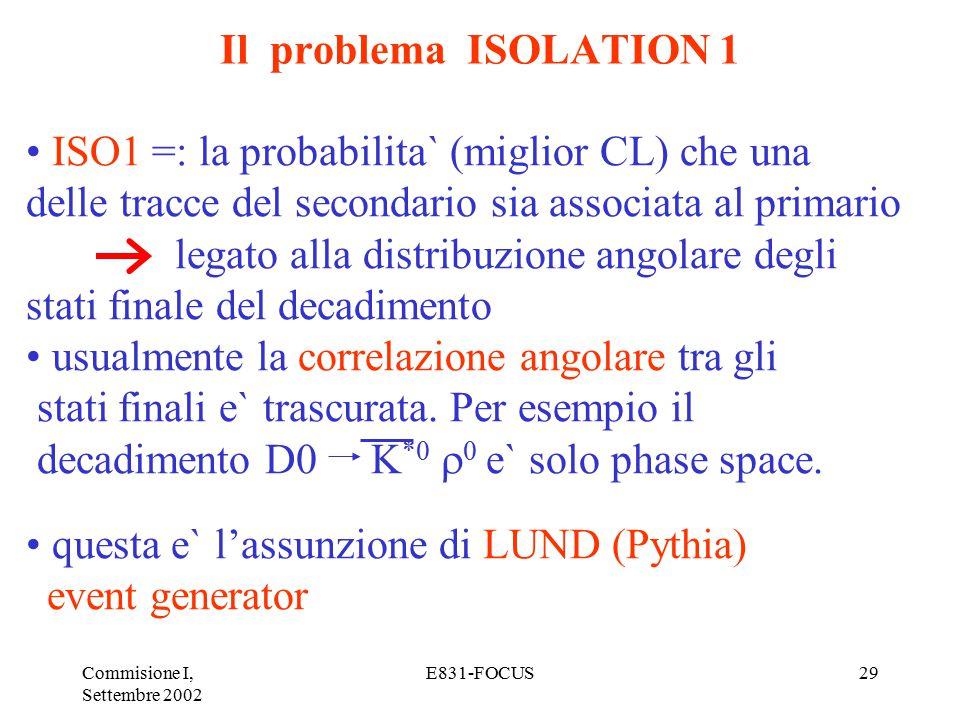 Commisione I, Settembre 2002 E831-FOCUS29 Il problema ISOLATION 1 ISO1 =: la probabilita` (miglior CL) che una delle tracce del secondario sia associata al primario legato alla distribuzione angolare degli stati finale del decadimento usualmente la correlazione angolare tra gli stati finali e` trascurata.
