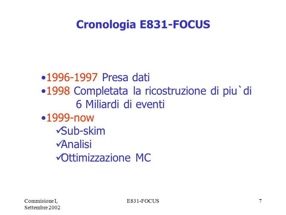 Commisione I, Settembre 2002 E831-FOCUS7 Cronologia E831-FOCUS 1996-1997 Presa dati 1998 Completata la ricostruzione di piu`di 6 Miliardi di eventi 1999-now Sub-skim Analisi Ottimizzazione MC